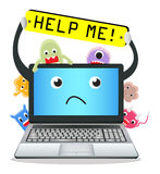 Laptop need help from virus computer Stock Image