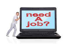 Laptop with need a job Stock Image