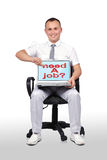 Laptop with need a job. Businessman sitting in chair and holding laptop with need a job Stock Photography