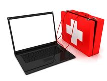 Laptop needs help. Conceptual image. 3d image renderer Royalty Free Stock Image