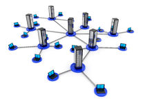 Laptop network. Illustration of laptop network connected to server on white background Stock Images