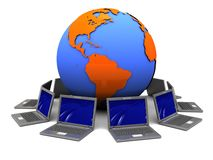 Laptop network. 3d illustration of laptops around earth globe, internet concept Royalty Free Stock Image