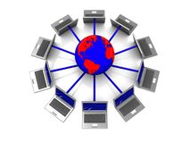 Laptop network. 3d illustration of laptops connected to earth globe Royalty Free Stock Images