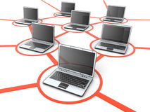 Laptop network Stock Photo