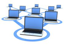 Laptop network (blue) Stock Photos
