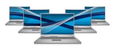 Laptop network communication illustration Stock Image