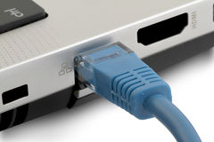 LAPTOP NETWORK CONNECTION Stock Photography