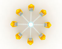 Laptop network connection top view. 3d render of Laptop network connection from top view Royalty Free Stock Photo