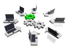 Laptop network Stock Photography