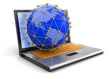Laptop and Network on globe (clipping path included) Stock Image