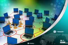 Laptop network with traffic cone Royalty Free Stock Photo