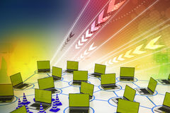 Laptop network with traffic cone Royalty Free Stock Images
