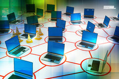 Laptop network with traffic cone Stock Images
