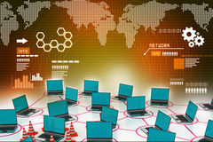 Laptop network with traffic cone Royalty Free Stock Image