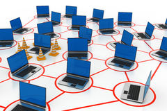 Laptop network with traffic cone Stock Photos