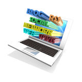 Laptop networking Stock Photo