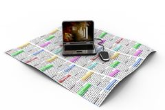 Laptop on the news paper stock illustration
