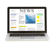 Laptop with news site Royalty Free Stock Image
