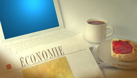 Laptop and Newspaper Royalty Free Stock Photos