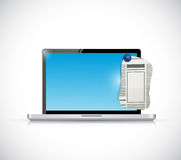 Laptop and newspaper ad piece illustration design Royalty Free Stock Photo