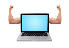 Laptop with nice muscular biceps Royalty Free Stock Photo