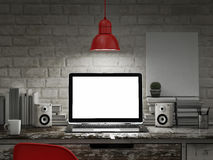 Laptop in night room, mock up background Royalty Free Stock Photography