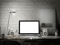 Laptop in night room, mock up background Royalty Free Stock Images