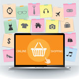 Laptop with Note paper and basket online shopping Royalty Free Stock Photography