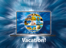 The laptop with note about vacation stock illustration
