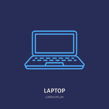 Laptop notebook with blank screen flat line style icon. Wireless technology, portable computer sign. Vector illustration Stock Photos