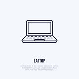 Laptop notebook with blank screen flat line style icon. Wireless technology, portable computer sign. Vector illustration. Of communication equipment for Royalty Free Stock Photography