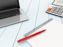 Laptop, notebook and calculator. Royalty Free Stock Images