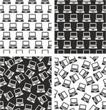 Laptop or Notebook Computer Aligned & Random Seamless Pattern Set Royalty Free Stock Photo