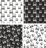 Laptop or Notebook Computer Big & Small Aligned & Random Seamless Pattern Set Royalty Free Stock Photo