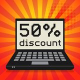 Computer, business concept with text 50 percent discount. Laptop or notebook computer, business concept with text 50 percent discount, vector illustration Stock Illustration