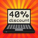 Computer, business concept with text 40 percent discount. Laptop or notebook computer, business concept with text 40 percent discount, vector illustration Stock Image