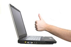 Laptop notebook isolated on wh. Ite with hand showing OK sign Stock Photos