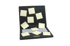 Laptop notebook isolated on wh. Ite with postits on it stock images