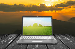Laptop notebook in nature Stock Photography