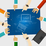 Laptop notebook review design blue print sketch hand drawing. Vector Stock Image