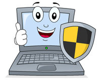 Laptop or Notebook with Shield Antivirus. A cute cartoon laptop or notebook character holding a black and yellow shield, isolated on white background. Antivirus Stock Image