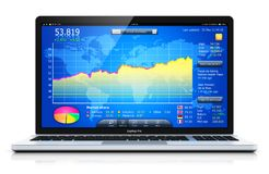 Laptop or notebook with stock exchange market app on the screen. Creative abstract stock exchange market trading, banking and financial business accounting stock illustration