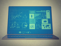 Laptop notebook ultrabook with new inteface Royalty Free Stock Photos