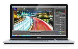 Laptop or notebook with video editing software. Creative abstract 3D render illustration of modern laptop or notebook computer PC with professional video footage stock illustration