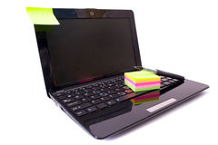 Laptop and notes Royalty Free Stock Photos