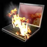 Laptop, Notizbuch, brennend Lizenzfreies Stockfoto