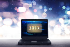 Laptop with numbers 2017 Royalty Free Stock Images