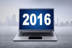 Laptop with numbers 2016 on the monitor Royalty Free Stock Image