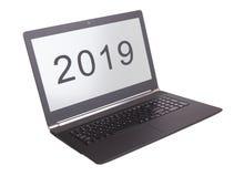 Laptop odizolowywający 2019 - nowy rok - Zdjęcia Royalty Free