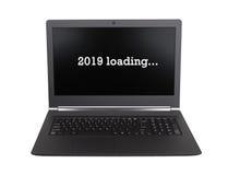 Laptop odizolowywający 2019 - nowy rok - Zdjęcie Stock